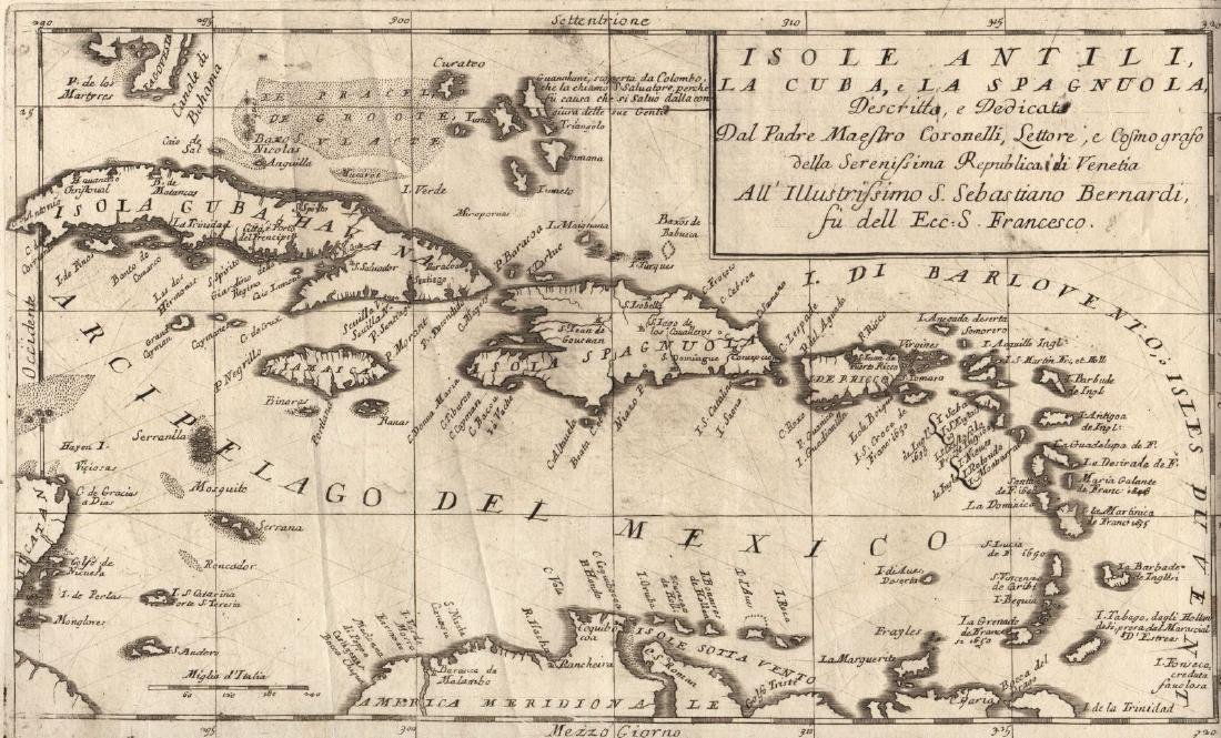 Coronelli: Antique Map of the West Indies, 1690