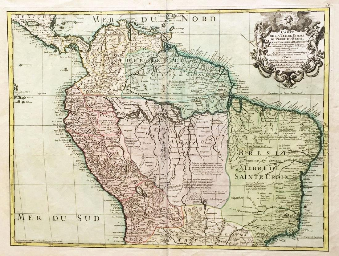 de l'Isle: Antique Map of Northern South America, 1730