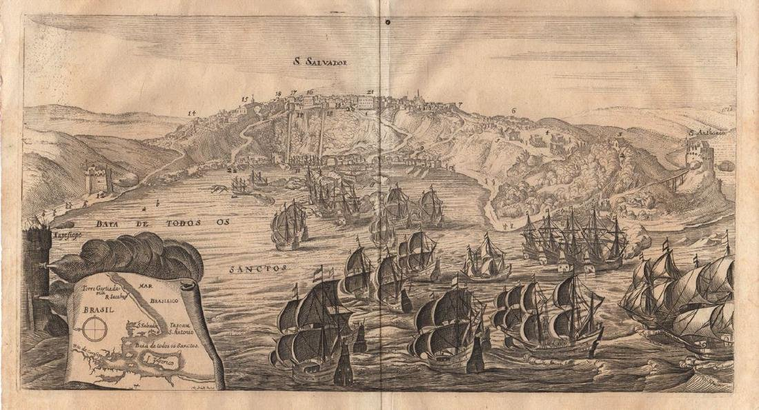 Finck/Merian: Antique View of Salvador, Brazil, 1635