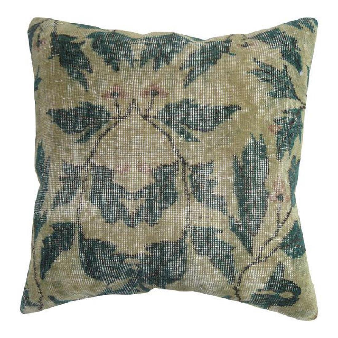 Shabby Chic Green Rug Pillow 1.6x1.6