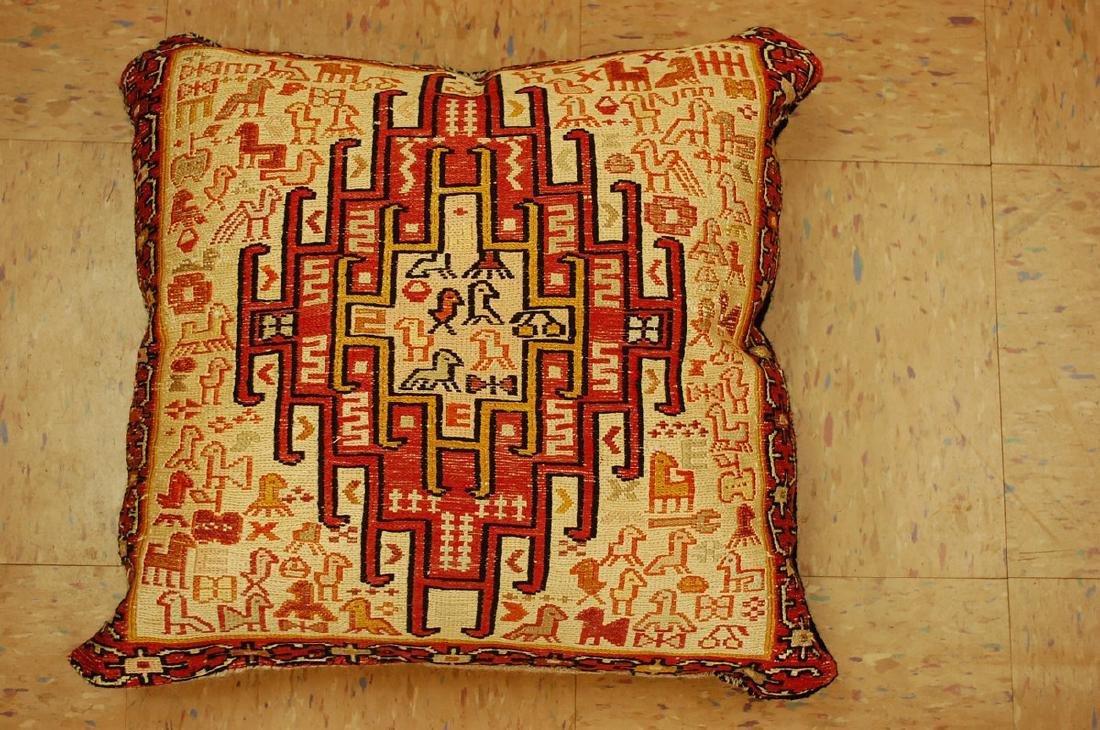 Detailed Fine Silk Sumak Kilim Rug Wool Pillow 1.7x1.7