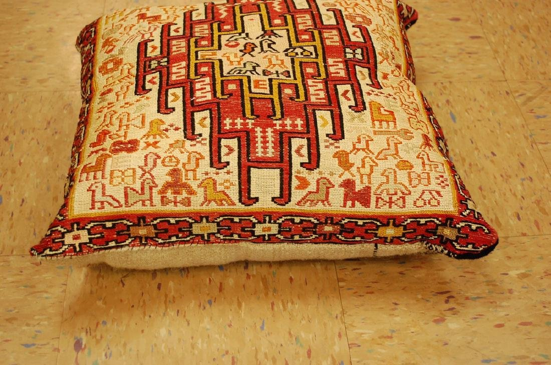 Detailed Fine Silk Sumak Kilim Rug Wool Pillow 1.7x1.7 - 2