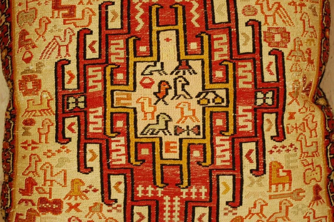 Detailed Fine Silk Sumak Kilim Rug Wool Pillow 1.7x1.7 - 3