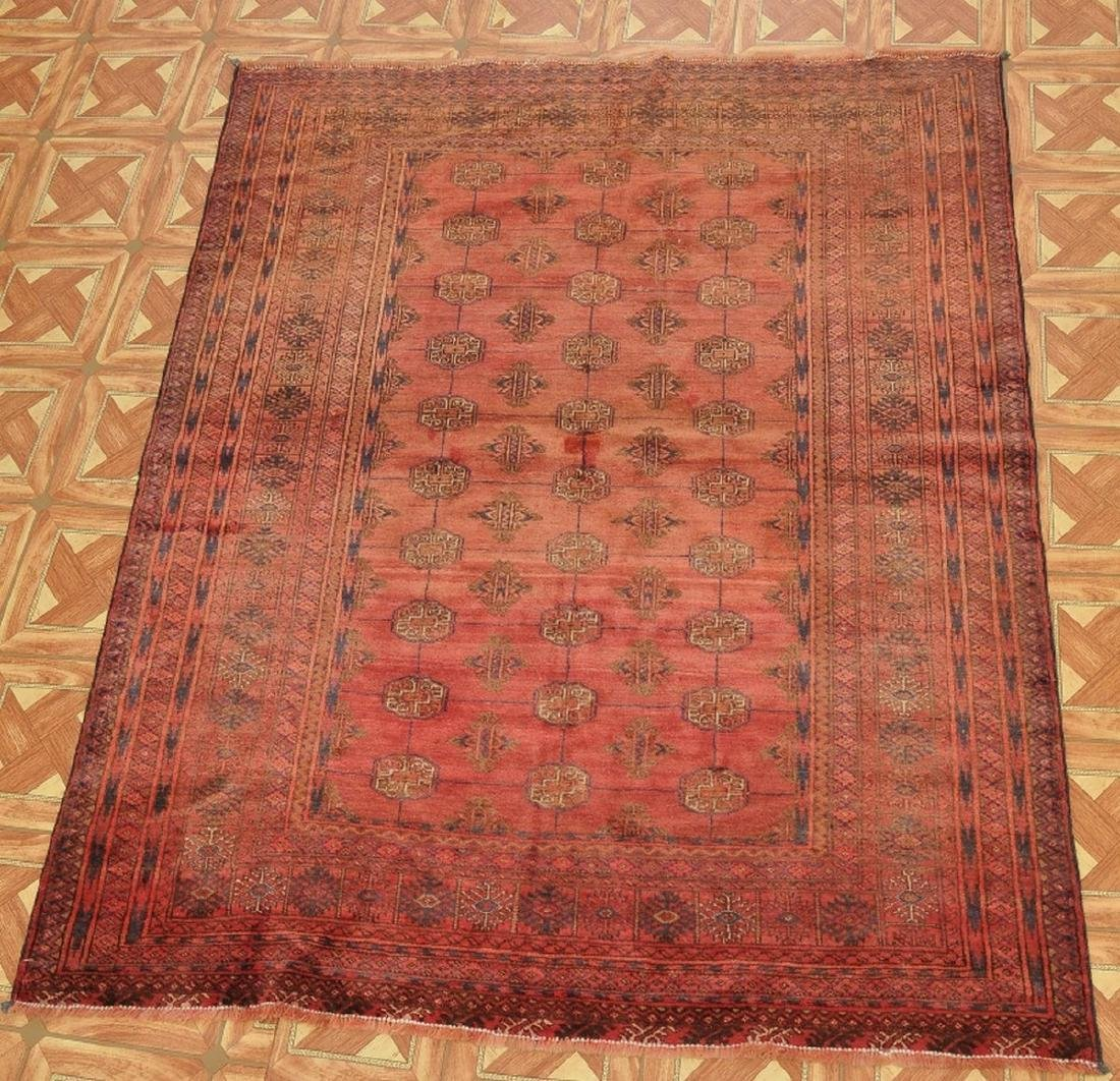 Semi-Antique Pakistan Bokhara Hand-Knotted Rug 4.5x5.8 - 5