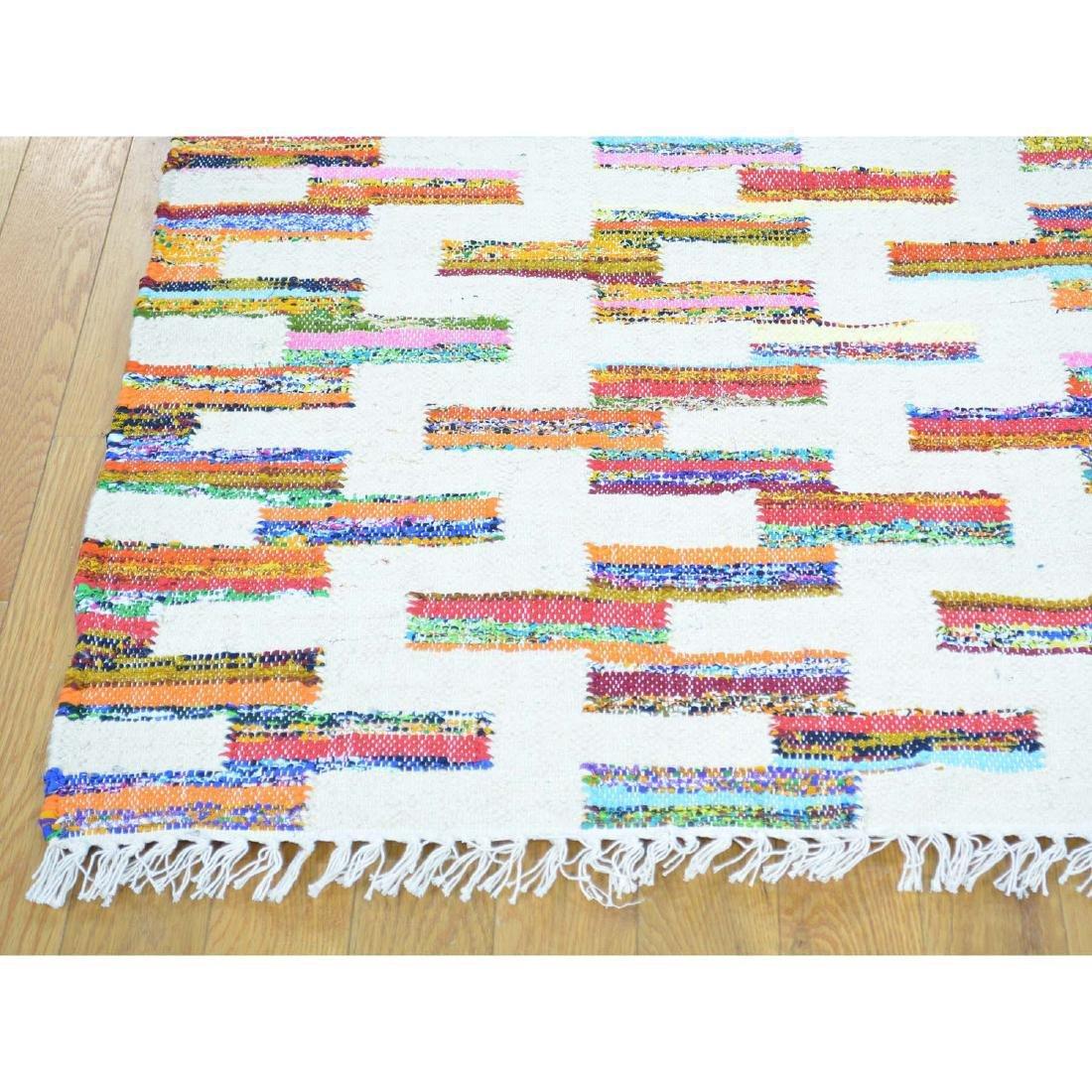 Cotton Sari Silk Flat Weave Kilim Hand Woven Rug 5.x7.1 - 3