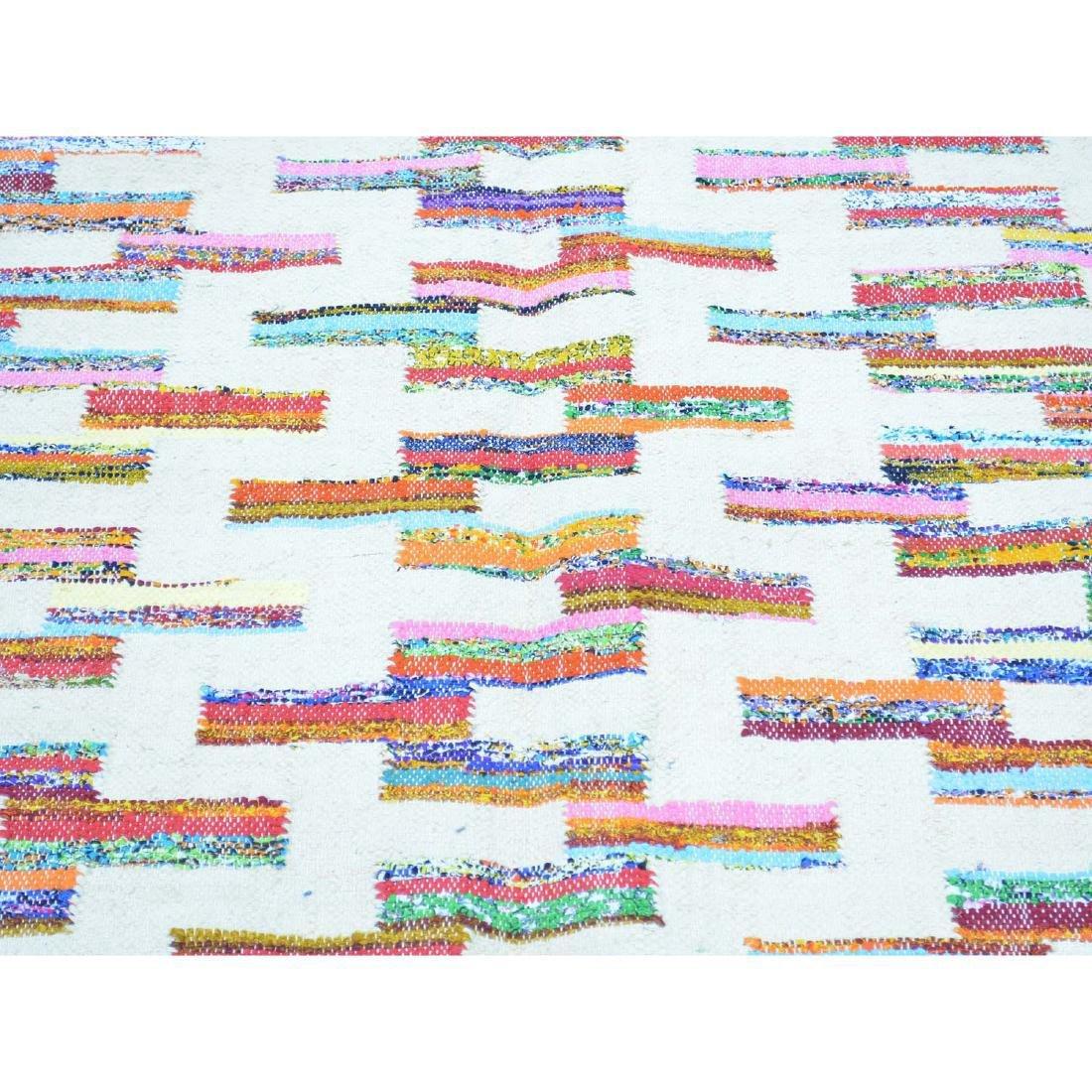 Cotton Sari Silk Flat Weave Kilim Hand Woven Rug 5.x7.1 - 4
