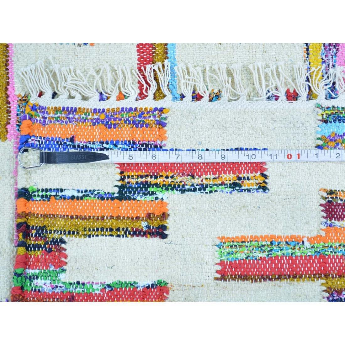 Cotton Sari Silk Flat Weave Kilim Hand Woven Rug 5.x7.1 - 5