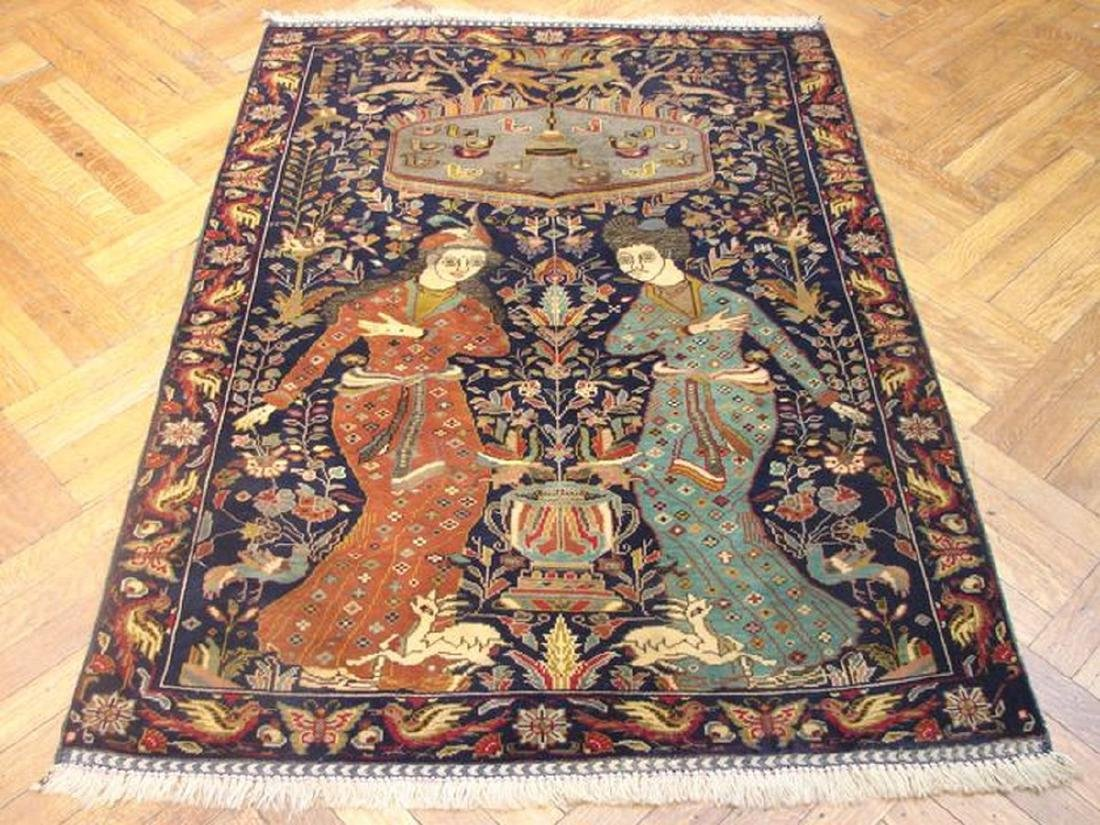 Pictorial Persian Tribal Baluch Hand-Knot Rug 3.4x4.9