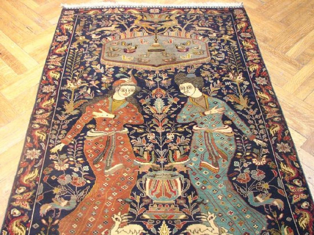 Pictorial Persian Tribal Baluch Hand-Knot Rug 3.4x4.9 - 2