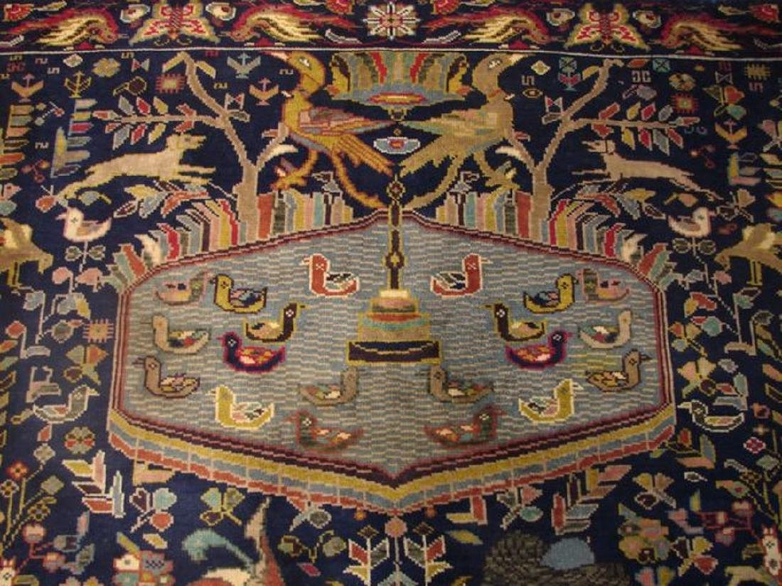 Pictorial Persian Tribal Baluch Hand-Knot Rug 3.4x4.9 - 3