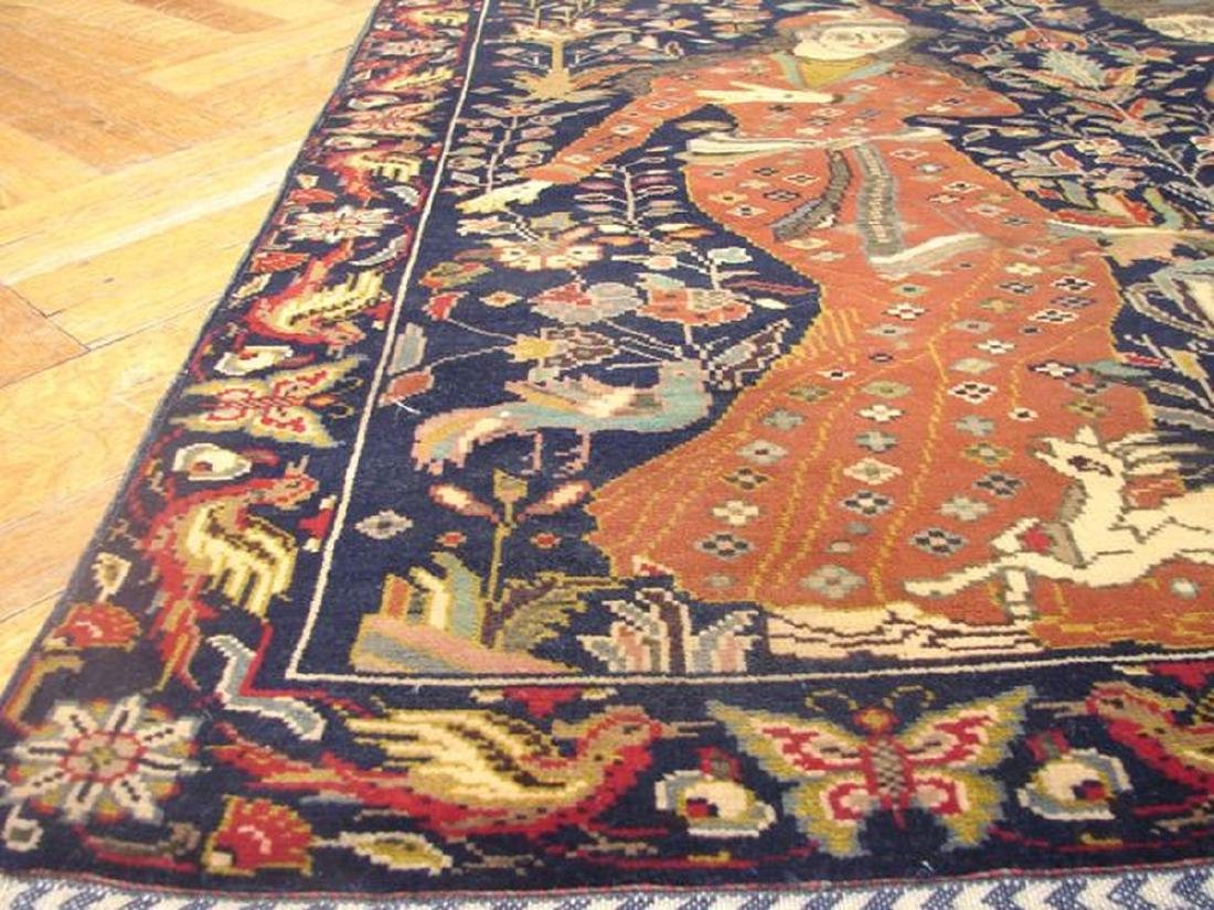 Pictorial Persian Tribal Baluch Hand-Knot Rug 3.4x4.9 - 4
