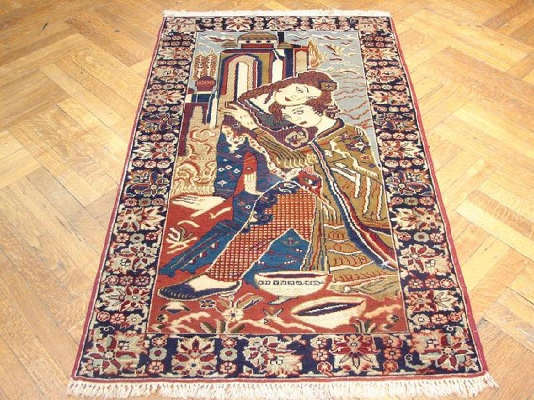 Pictorial Persian Tribal Baluch Hand-Knotted Rug 2.10x5