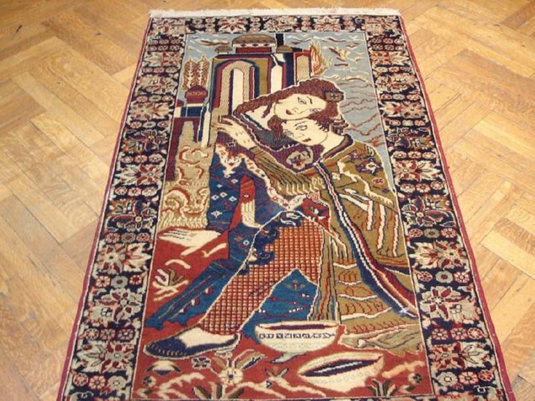 Pictorial Persian Tribal Baluch Hand-Knotted Rug 2.10x5 - 2