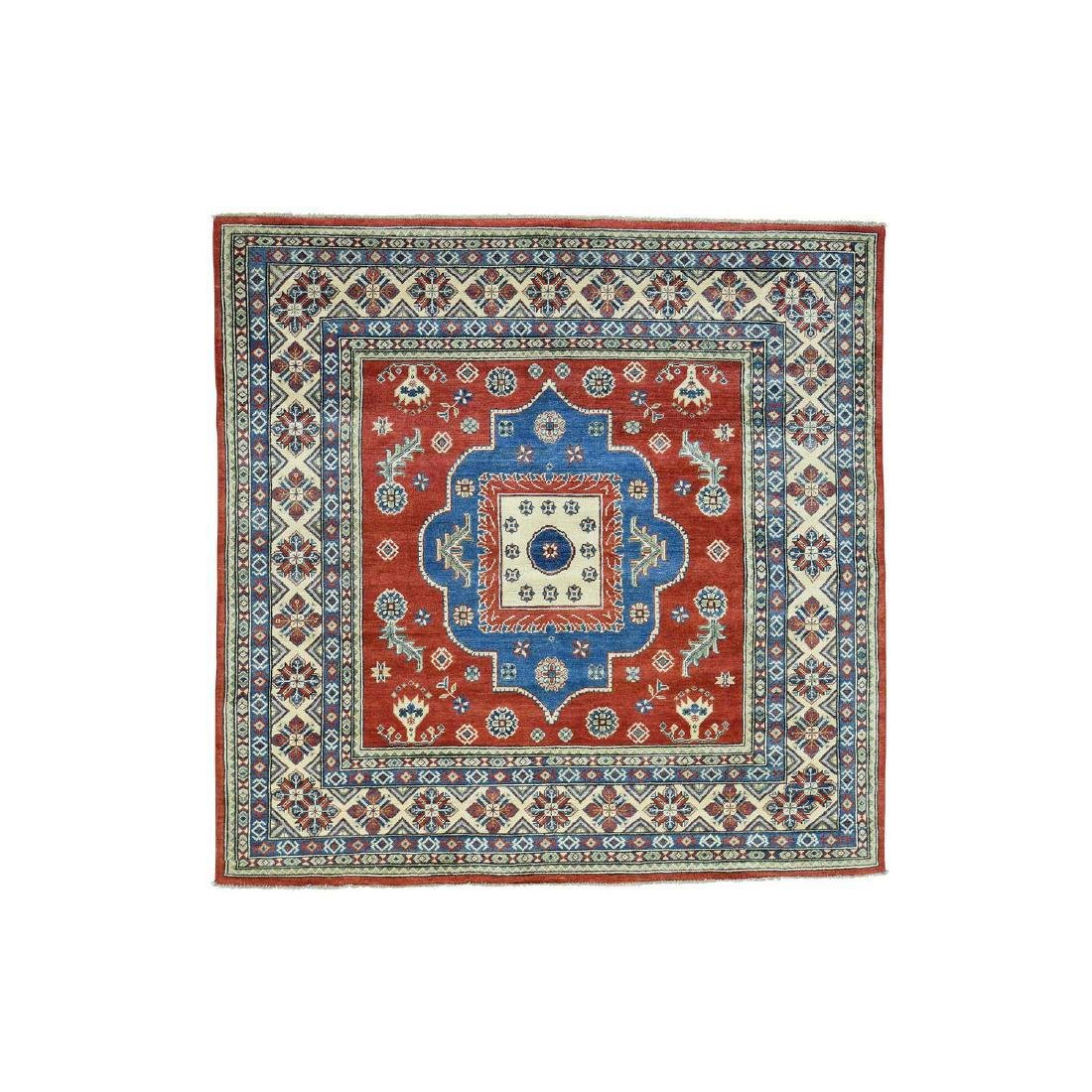 Hand-Knotted Kazak Square Tribal Design Rug 6.7x6.7