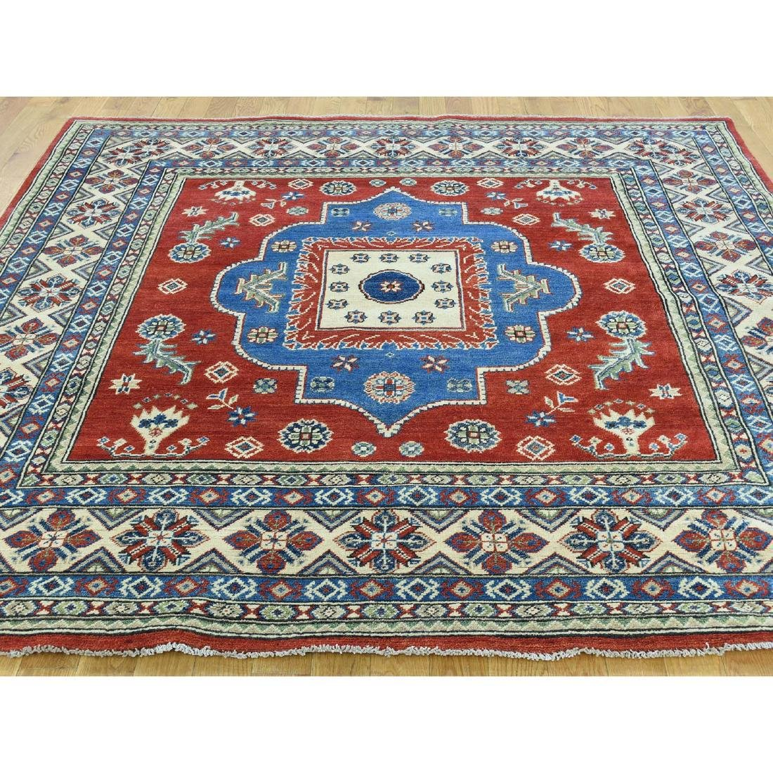 Hand-Knotted Kazak Square Tribal Design Rug 6.7x6.7 - 2