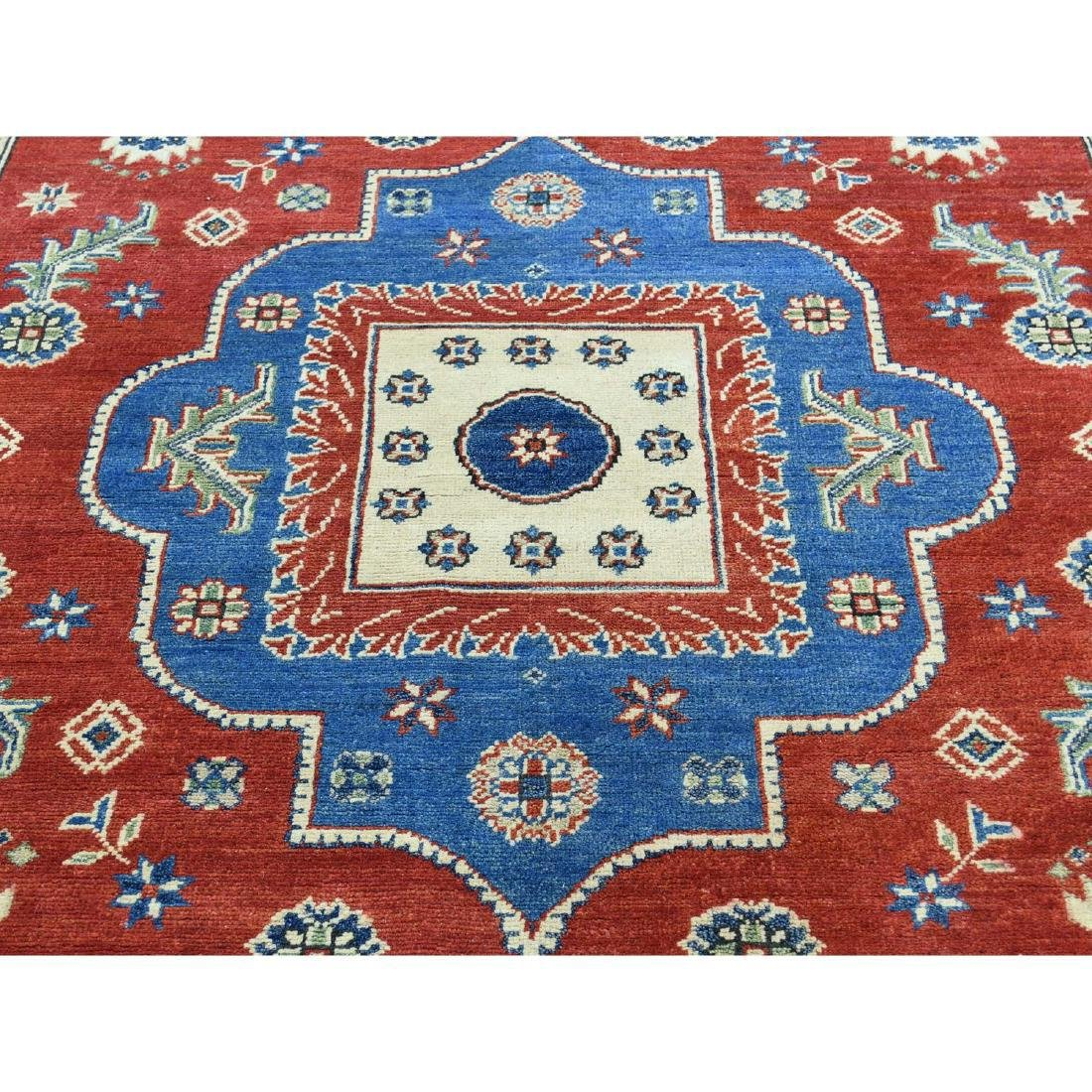 Hand-Knotted Kazak Square Tribal Design Rug 6.7x6.7 - 4