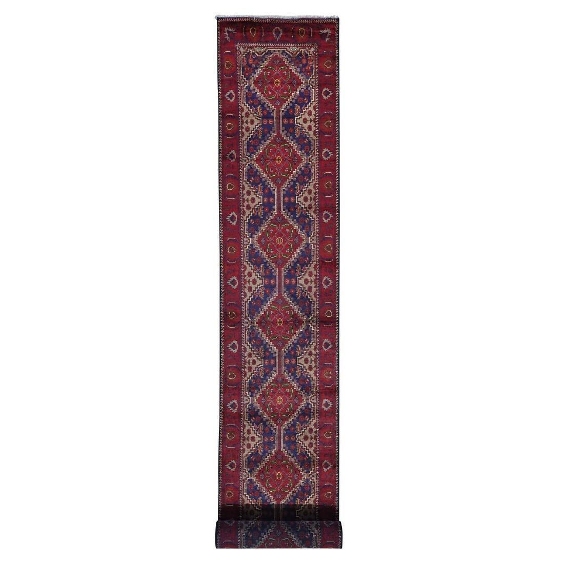 Runner Afghan Khamyab Handmade Rug 2.7x18.4