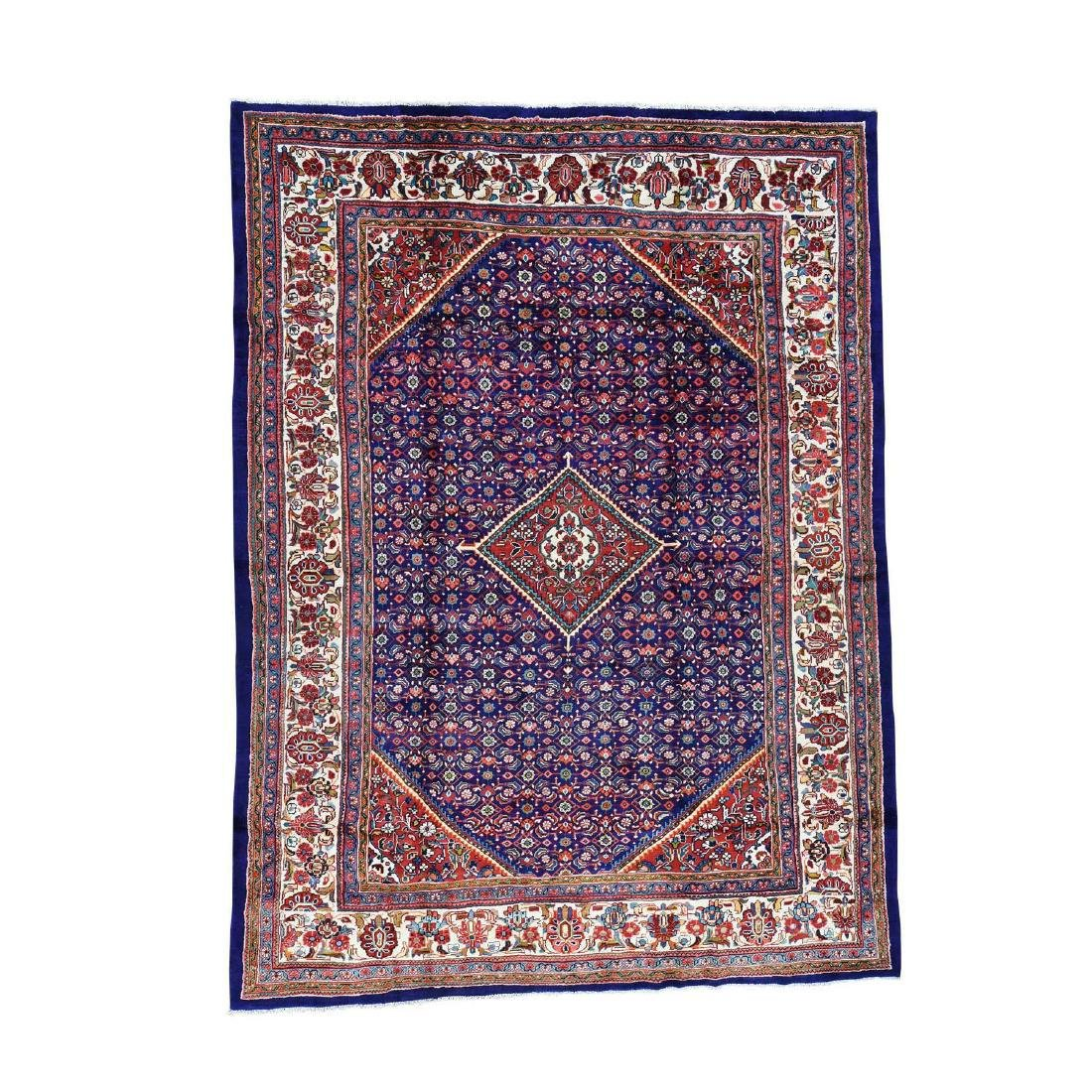 Hand Knotted Persian Mahal Pure Wool Blue Rug 10x13