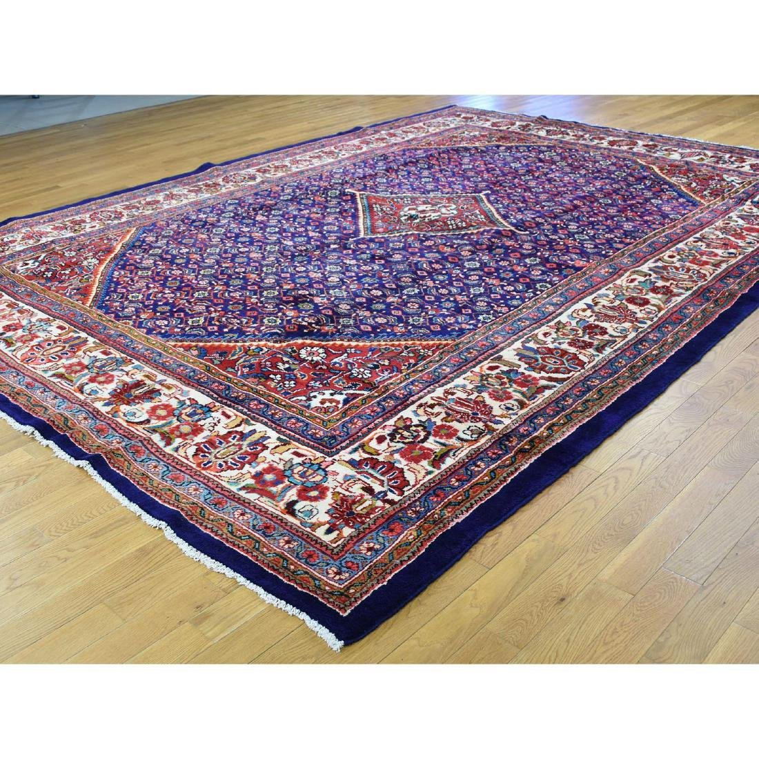 Hand Knotted Persian Mahal Pure Wool Blue Rug 10x13 - 3