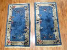 Antique Matching Pair Chinese Art Deco Rug 2.1x4