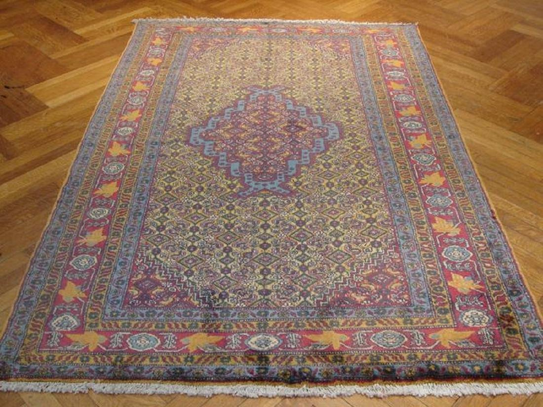 Gold Semi-Antique Persian Tabriz Hand-Knotted Rug 4.7x7