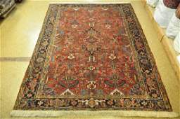 Red Antique Persian Heriz Hand-Knotted Rug 7.7x10.1