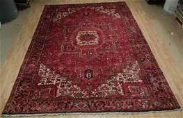 Semi-Antique Persian Heriz Hand-Knotted Rug 9.4x12.7