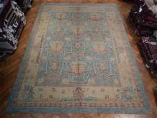 Blue Vintage Persian Oushak Hand-Knotted Rug 11x14.8