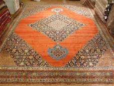 Orange Antique Persian Bijar Hand-Knotted Rug 14.9x18.6