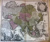 Seutter: Antique Map of Asia w/ Mishapen NE Asia, 1740