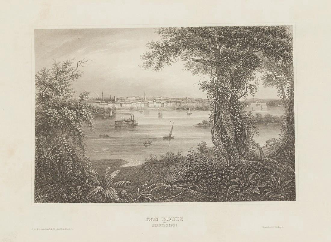 Meyer's Universum Antique View of Saint Louis, 1860