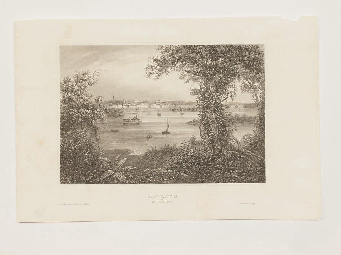 Meyer's Universum Antique View of Saint Louis, 1860 - 2