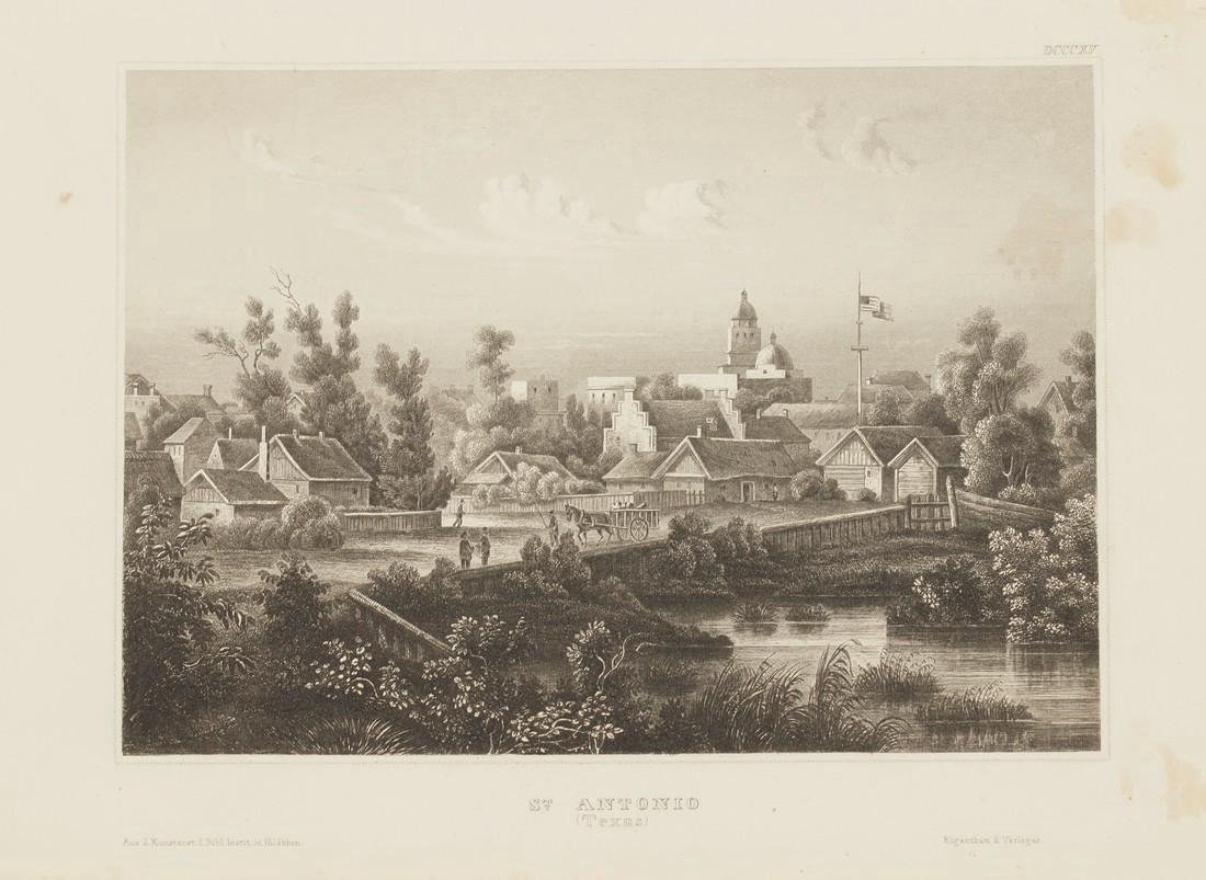 Meyer's Universum Antique View of San Antonio, 1860