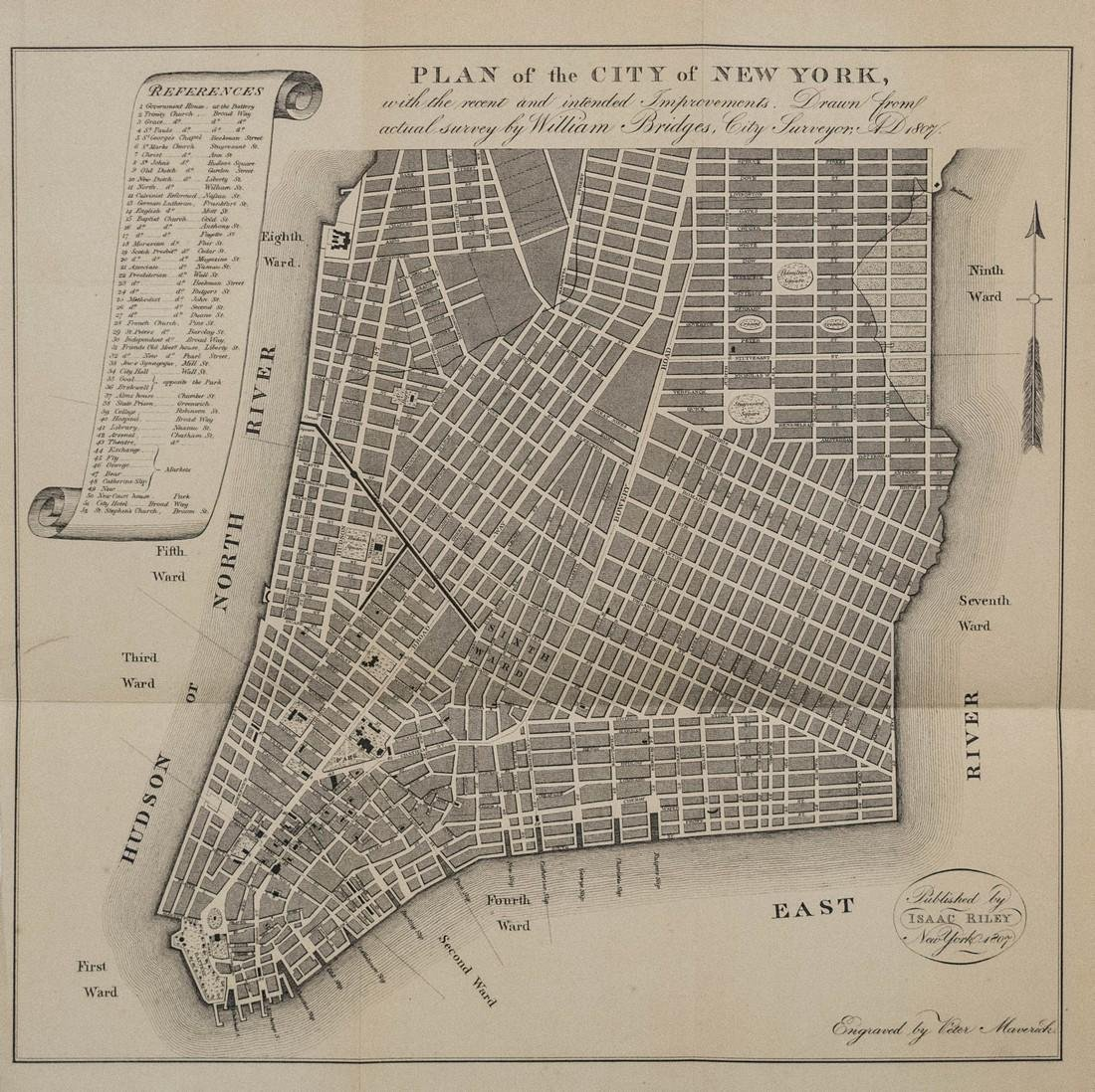 Bridges: Antique Plan for New York City, 1870