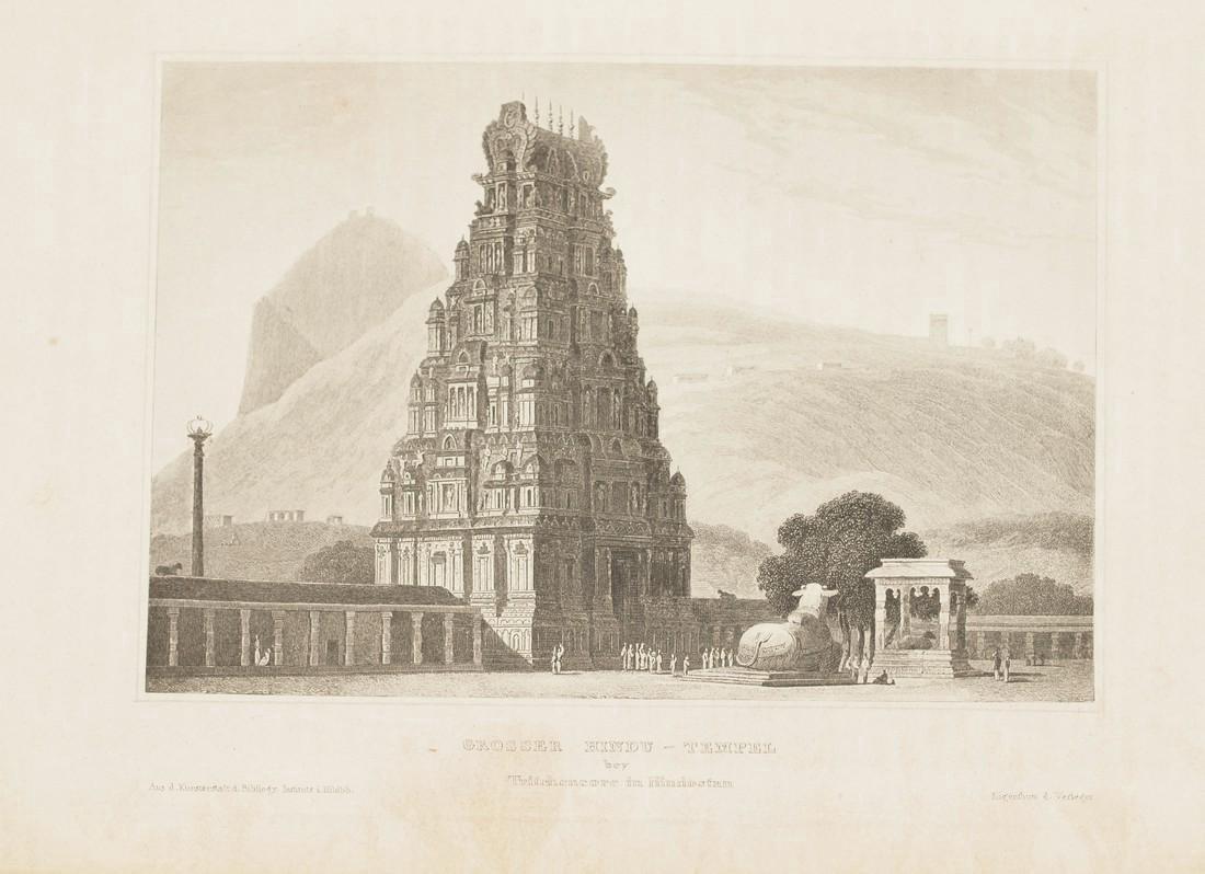Hildburghausen: Antique View Hindu Temple India 1860