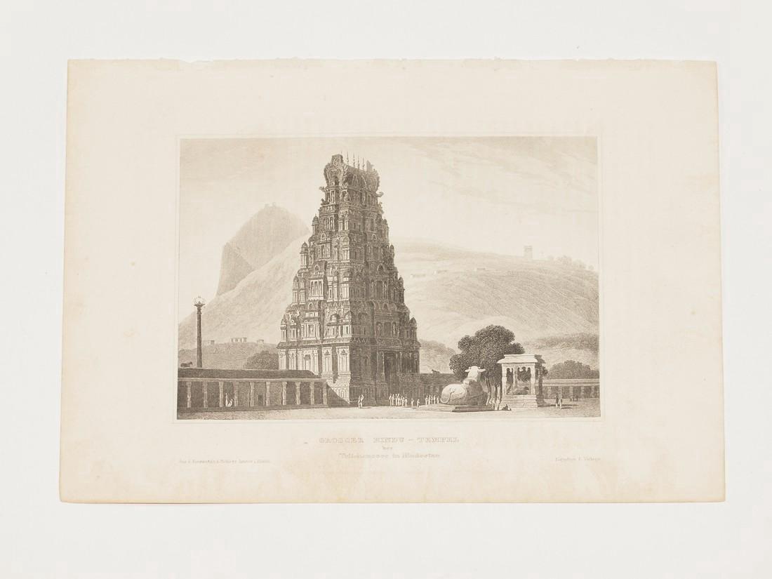 Hildburghausen: Antique View Hindu Temple India 1860 - 2