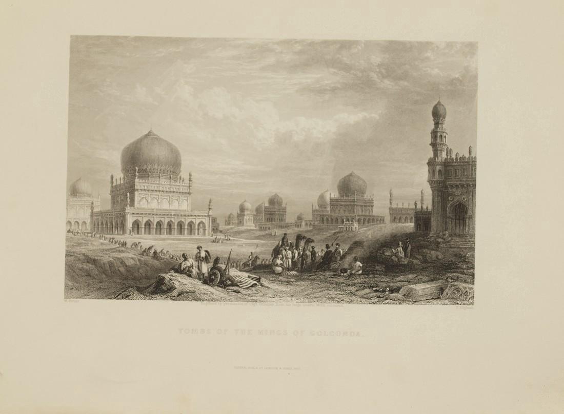 Purser: Antique View Tombs Kings Golkonda India 1845