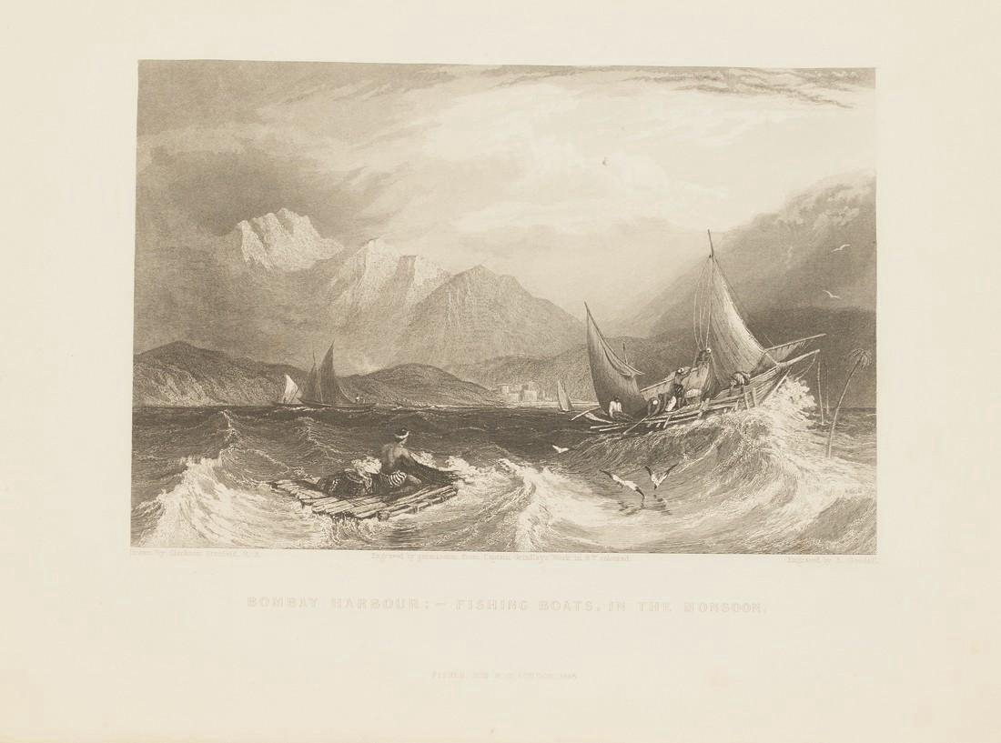 Stanfield: Antique View Boats Harbour Bombay India 1845 - 2