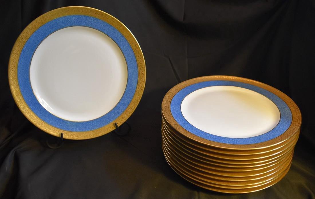 Set 12 Antique Limoges Porcelain Gilded Dinner Plates