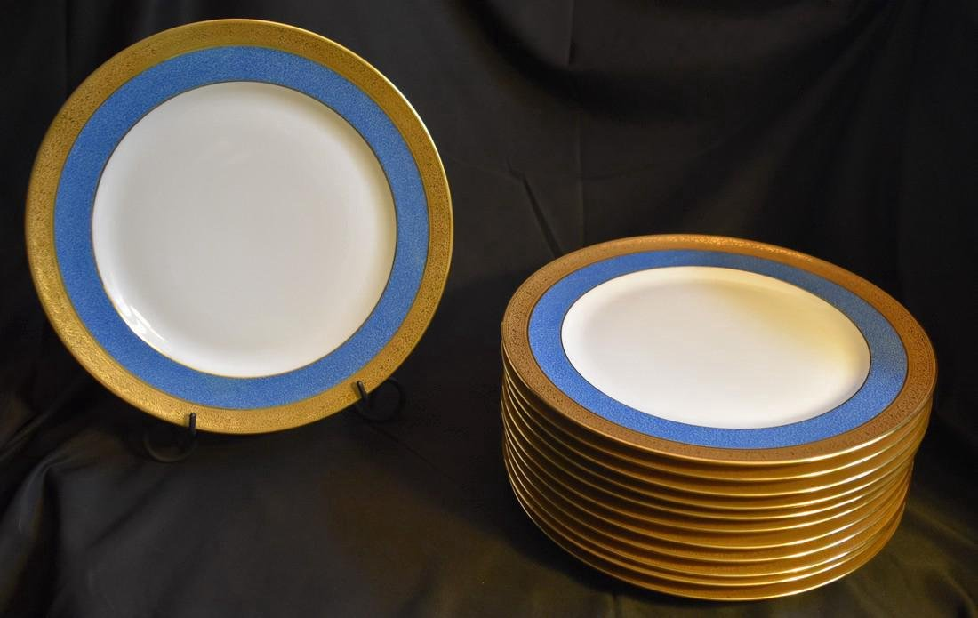 Set 12 Antique Limoges Porcelain Gilded Dinner Plates