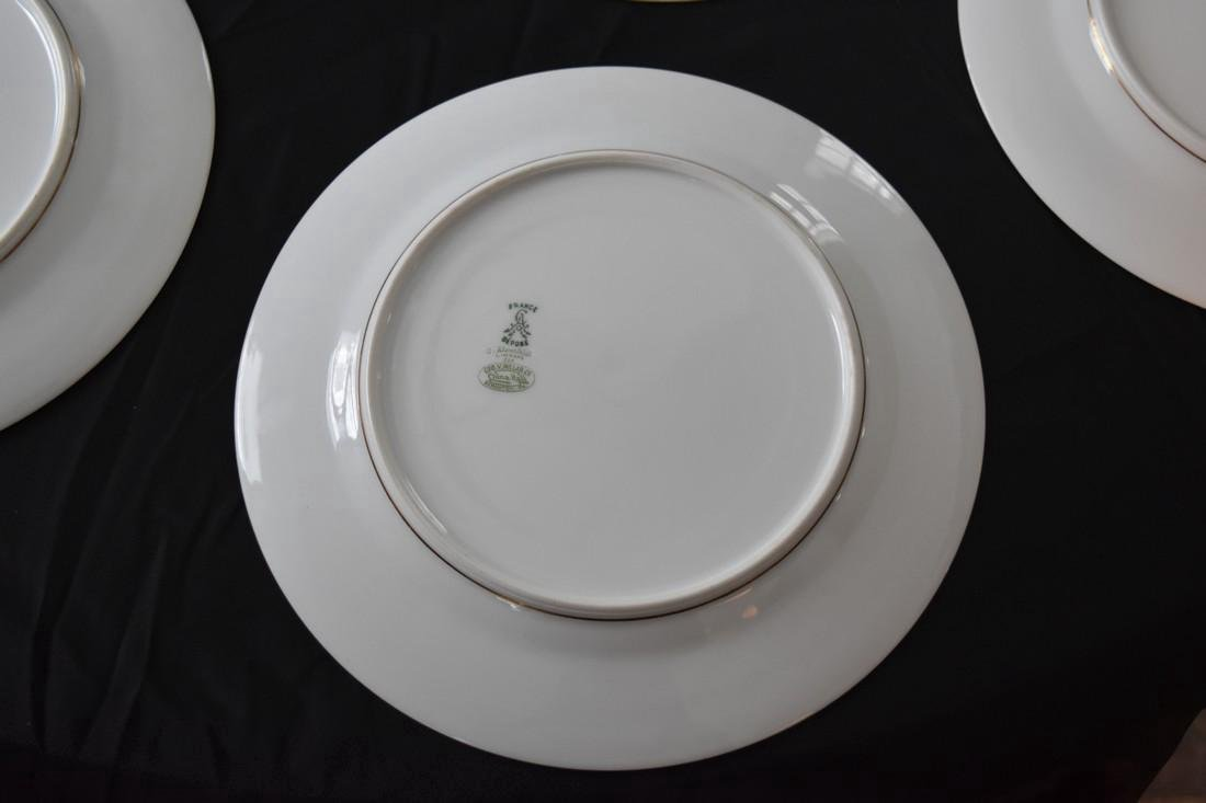 Set 12 Antique Limoges Porcelain Gilded Dinner Plates - 4