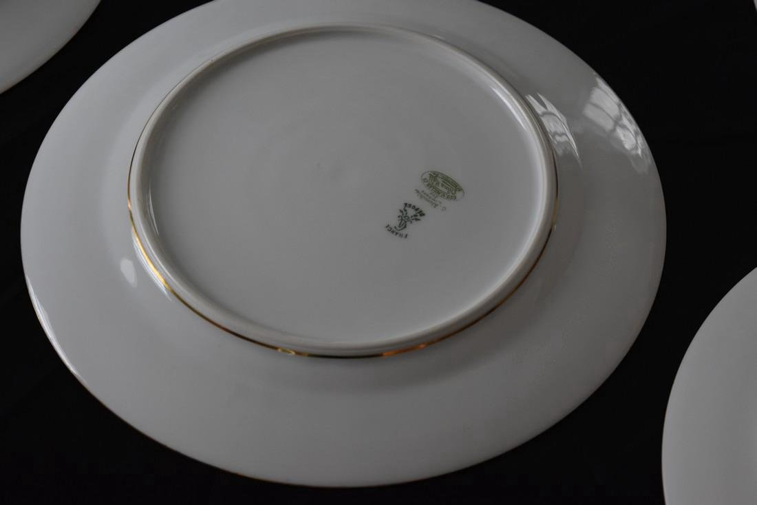 Set 12 Antique Limoges Porcelain Gilded Dinner Plates - 5