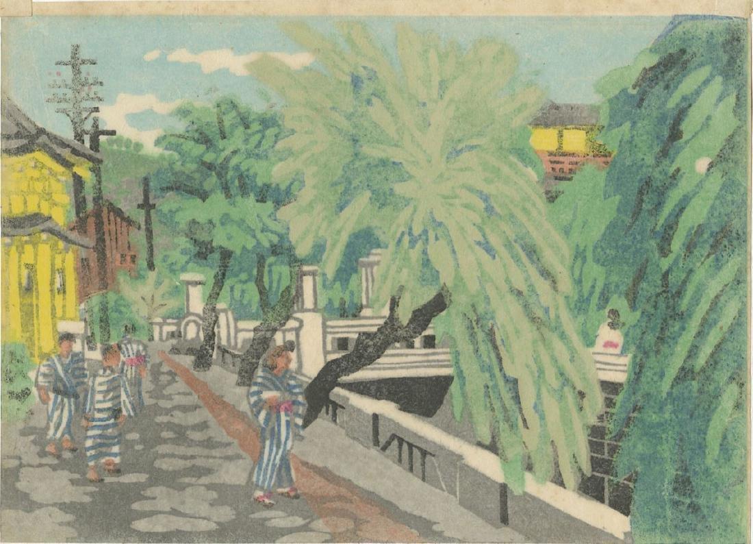 Kawanichi Hide Woodblock Kobe Street Scene - 2