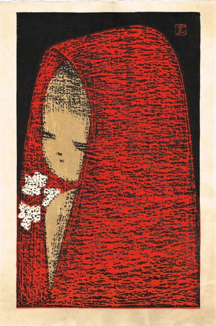 Kawano Kaoru Woodblock Dream Girl with a Red Hood