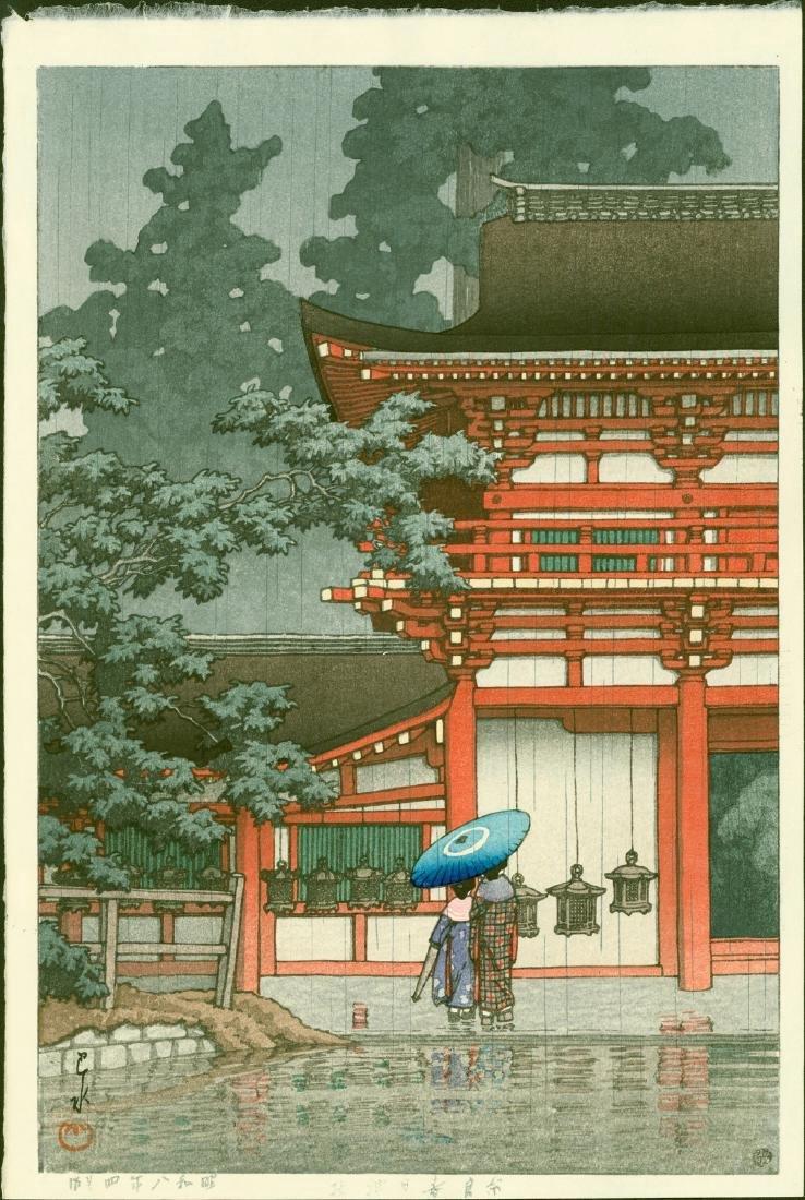 Kawase Hasui Woodblock Rain at Kasuga Shrine, Nara