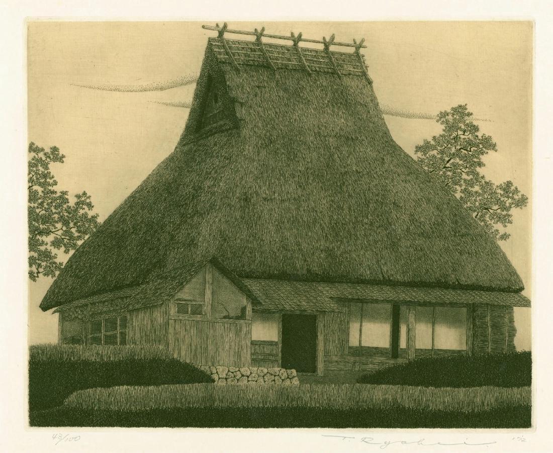 Ryohei Tanaka Etching Thatched Roof (Warabuki) No. 13