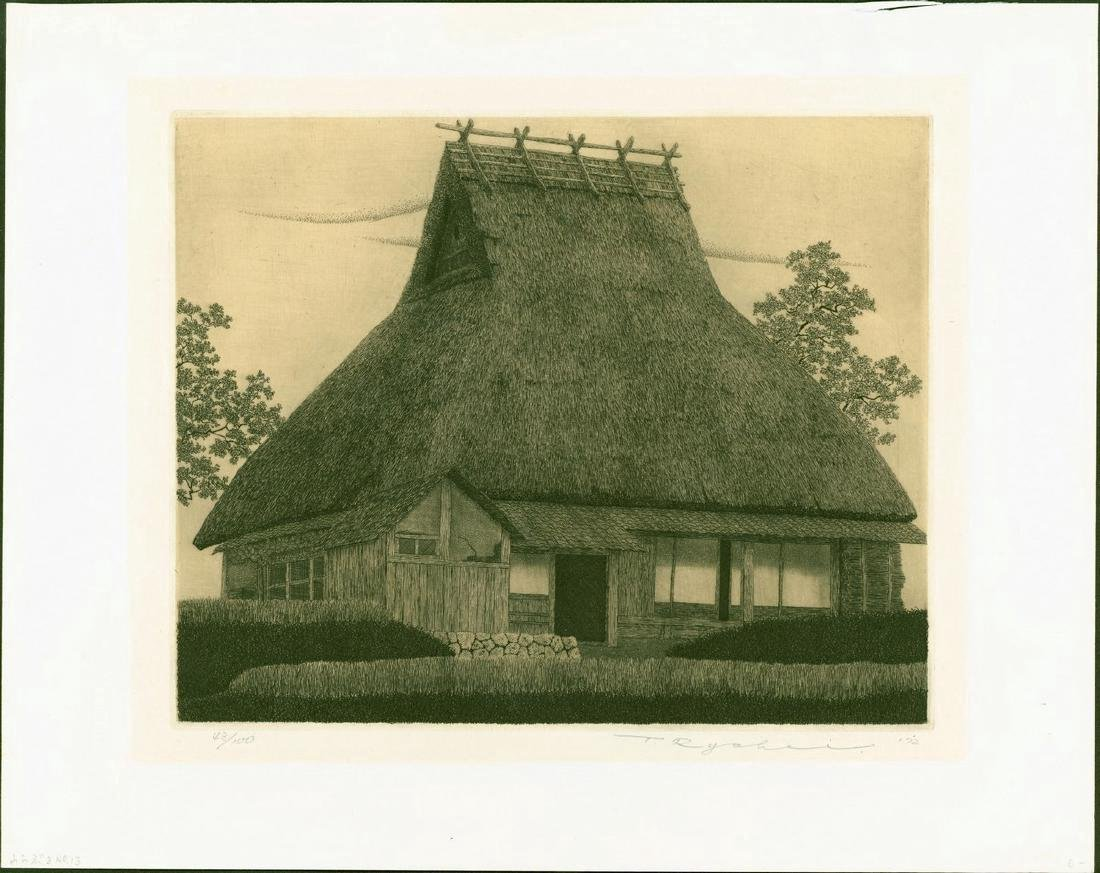 Ryohei Tanaka Etching Thatched Roof (Warabuki) No. 13 - 2