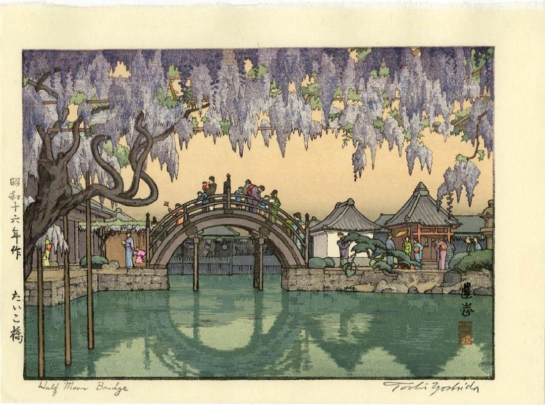Toshi Yoshida Woodblock Half Moon Bridge