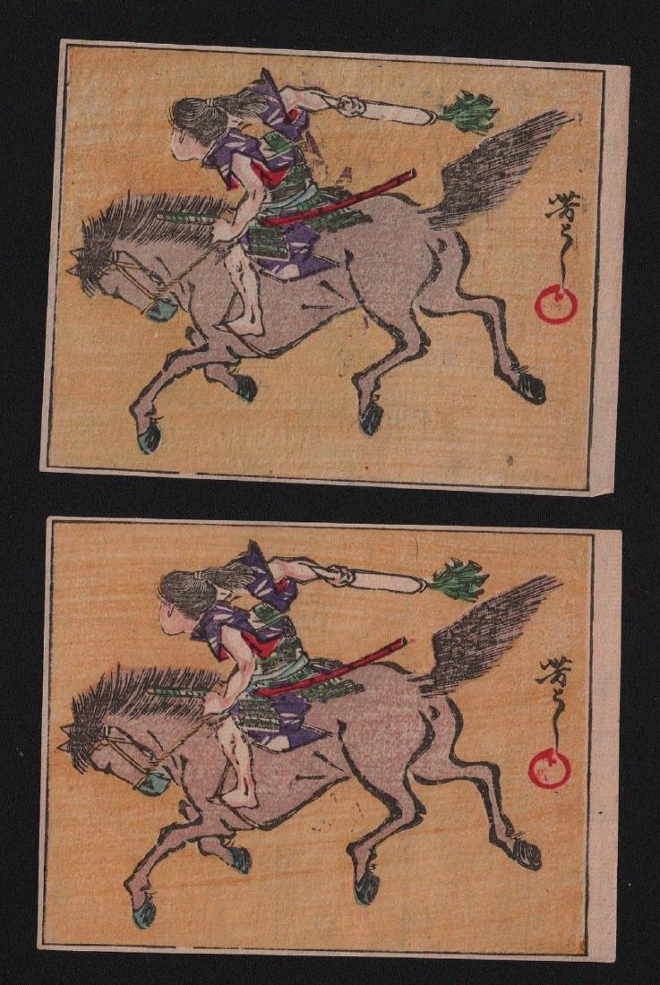 Tsukioka Yoshitoshi Woodblocks Warrior on horse