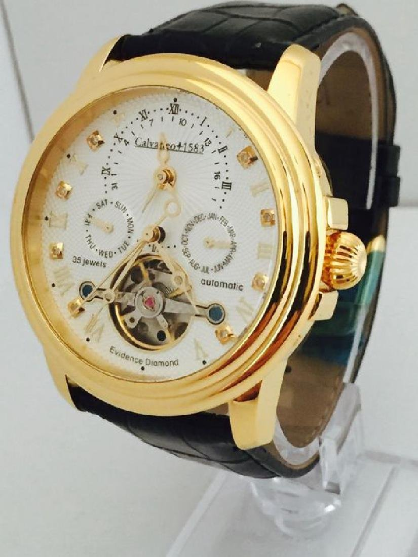 Calvaneo Evidence Diamond Gold Plated Dualtimer Watch